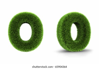 Grass letter o, isolated on white background