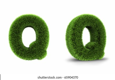 Grass letter q, isolated on white background