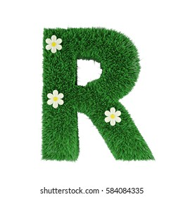grass letter R isolated on white. 3d rendering