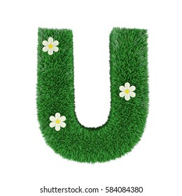 grass letter U isolated on white. 3d rendering