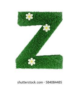grass letter Z isolated on white. 3d rendering
