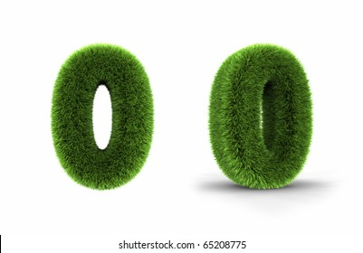 Grass number zero, isolated on white background, 0