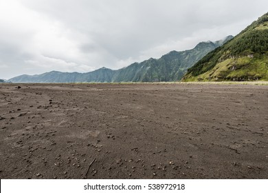grass on barren sand under cloudy sky after rain with mountain as background