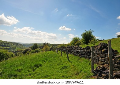 grass path running along a dry stone wall and fence in pennine yorkshire farmland in calderdale with scenic views over the wooded valley and a bright blue spring sky