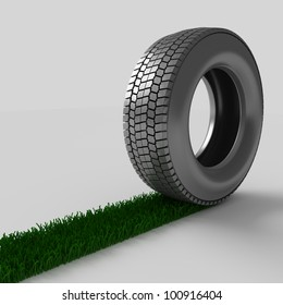 grass path from a tire 3d
