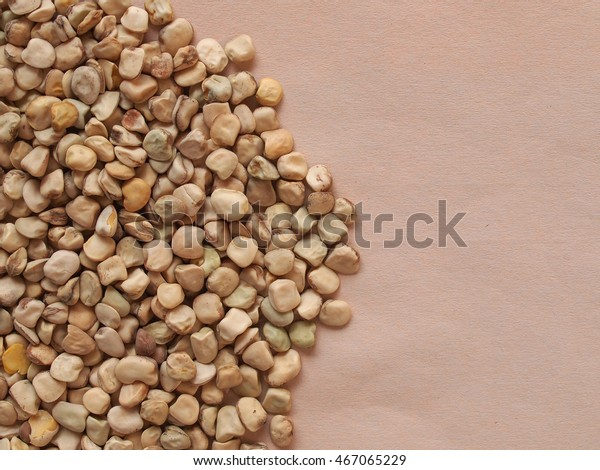 Grass pea (Lathyrus sativus) aka sweet pea, chickling pea, Indian pea, white pea, cicerchia pea vegetables vegetarian food with copy space