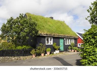Grass roof house at Faeroer island
