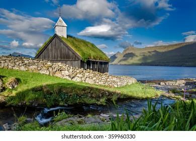 Grass roofed Church in the village of Funningur on the island of Eysturoy, Faroe Islands, Denmark