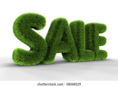 Grass sale word isolated on white background, 3D rendering