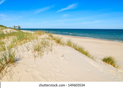 Grass sand dune beach sea view, Leba, Baltic Sea, Poland