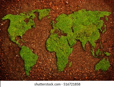 grass in shape of world map  in soil, green earth concept