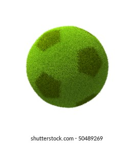 grass soccer ball on white background