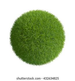Grass sphere. Isolated on white background.3D rendering illustration.