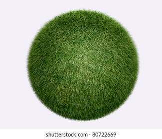 grass sphere on white background. Isolated 3d model