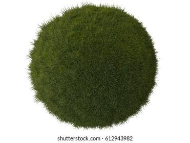 Grass sphere planet earth 3D rendering