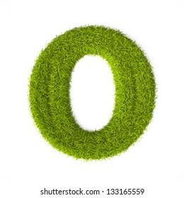 Grass style Latin Alphabet Letter O Isolated on white background