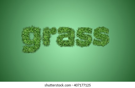 Grass, text made of grass and green color