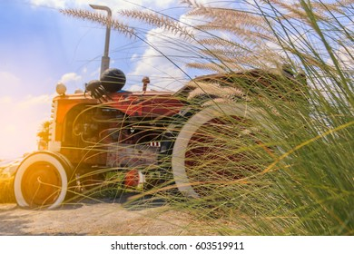 Grass and tractor car background