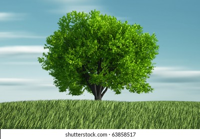 Grass and tree - this is a 3d render illustration