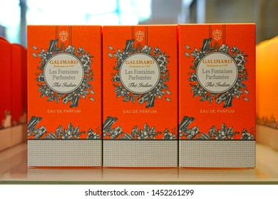 GRASSE, FRANCE -21 APR 2018- View of bottles of perfume for sale in the store at the Galimard perfume museum and factory located in Grasse, Provence, France