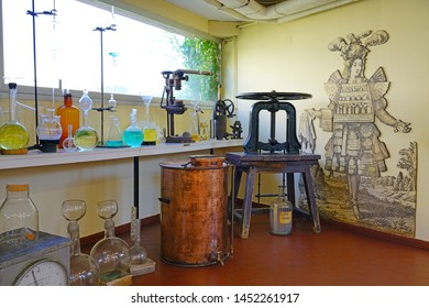GRASSE, FRANCE -21 APR 2018- View of the Galimard perfume museum and factory located in Grasse, Provence, France