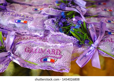 GRASSE, FRANCE -21 APR 2018- View of perfumed fragrance sachets for sale in the store at the Galimard perfume museum and factory located in Grasse, Provence, France