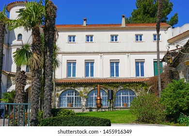 GRASSE, FRANCE -21 APR 2018- View of the Molinard perfume museum and factory located in Grasse, Provence, France