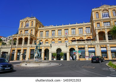GRASSE, FRANCE -21 APR 2018- View of the landmark historic Palais des Congres conference center town of Grasse, Provence, France, known for its flowers and perfume factories.