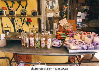 GRASSE, FRANCE - CIRCA JULY 2014: Perfumes and scented soaps as the most popular souvenirs in Grasse, the world's capital of perfumery.