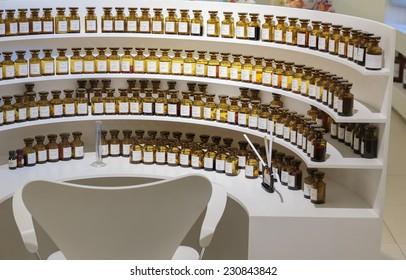 GRASSE, FRANCE - OCTOBER 31, 2014: Workplace perfumer Fragonard factory
