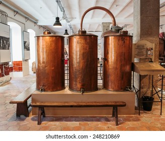 GRASSE, FRANCE - OCTOBER 31, 2014: Ancient distiller for the production of perfume in Fragonard factory in Grasse