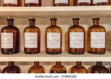 GRASSE, FRANCE - OCTOBER 31, 2014: Hall presentations perfume to the factory Fragonard