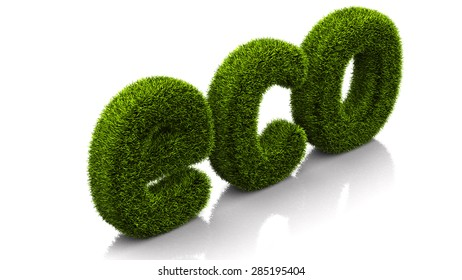grassed conceptual word eco isolated on white background