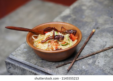 Grasshoppers, also known as chapulines, are an important part of traditional Thai food
