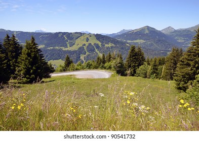 Grassland and road in the mountains of the French Alps near of  village Avoriaz. The Haute-Savoie department in the Rhône-Alpes region in south-eastern France.