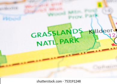 Grasslands National Park. Canada on a map.