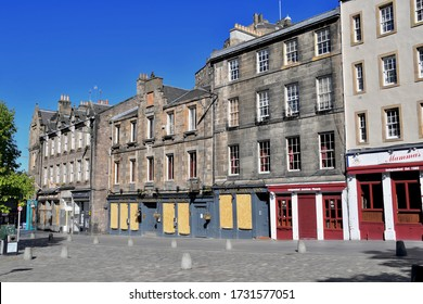 Grassmarket, famous market square full of  bars and restaurants closed during Scotland 6 week lockdown with coronavirus, Edinburgh City, scotland. UK. may 2020