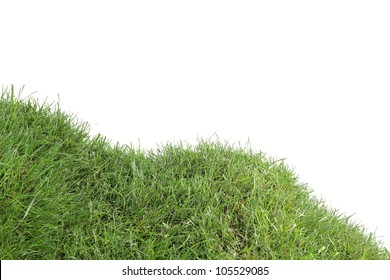 Grassy Down Hill Isolated on White Background