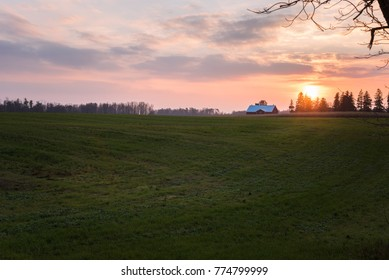 Grassy Field in the Countryside of Ontario, Canada, at Sunset. A Barn is Visible in Background.