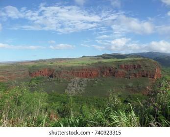 Grassy fields above a canyon, Kauai, Hawaii