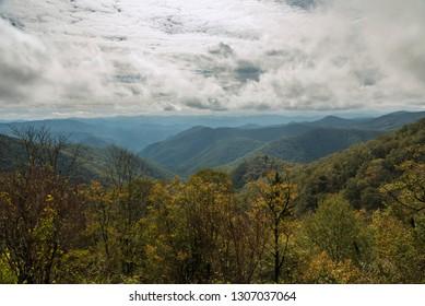Grassy Ridge Mine Overlook in the Blue Ridge Parkway, North Carolina, United States