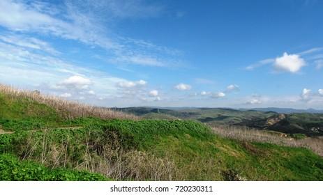 Grassy sloping field beneath blue skies, California