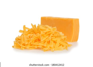 Grated cheddar cheese on white background