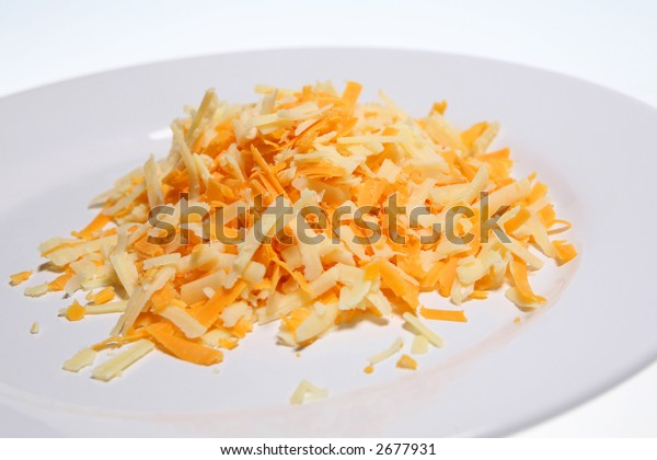 Grated Cheddar and Red Leicester cheeses
