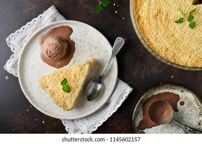 Grated cheese cake with crumb and ice cream. Homemade dessert