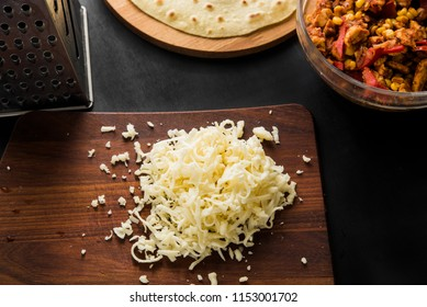 Grated cheese for cooking quesadilla Mexican