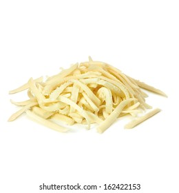 Grated cheese pile on white background