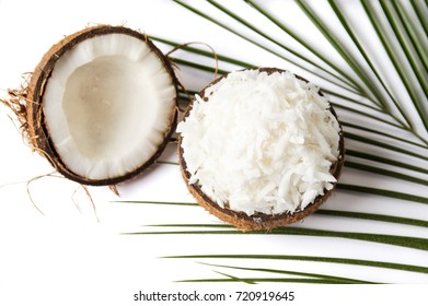Grated coconut in a natural shell as bowl