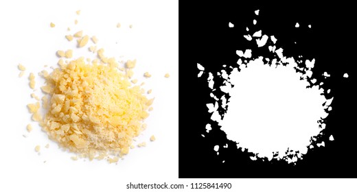 Grated Parmesan cheese (Parmigiano, Grana), pile of, top view. Clipping paths, shadows separated
