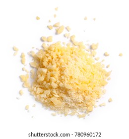 Grated Parmesan cheese (Parmigiano, Grana), pile of, top view. Clipping paths, shadows separated. Paths: https://goo.gl/16cG1d